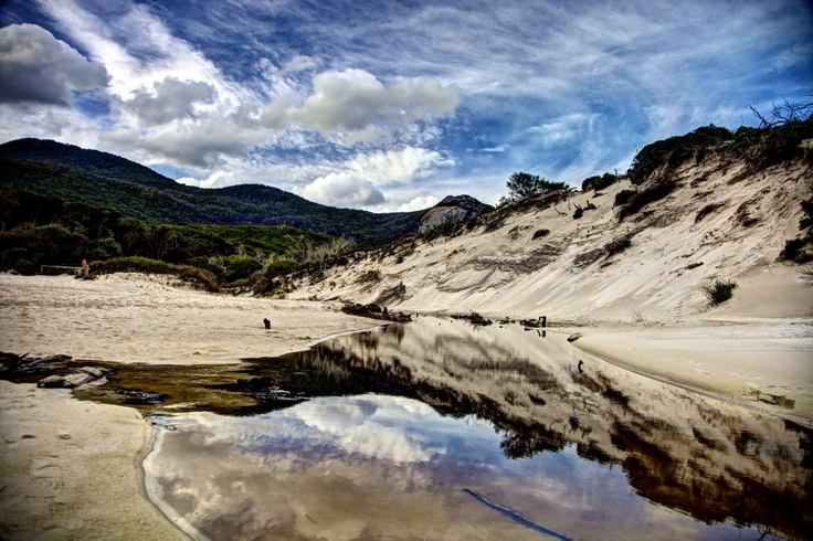 A still body of water on the Beach at Tidal River