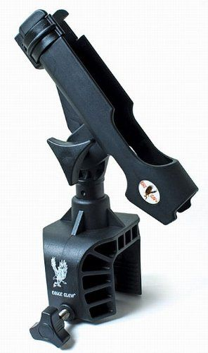 Eagle Claw AABRH Clamp-On Aluminum Boat Rod Holder, Black Finish at http://suliaszone.com/eagle-claw-aabrh-clamp-on-aluminum-boat-rod-holder-black-finish/