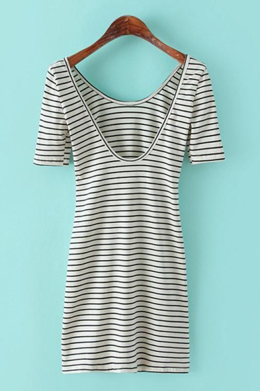 Striped Elastic U-neck Short Sleeve Bodycon Dress