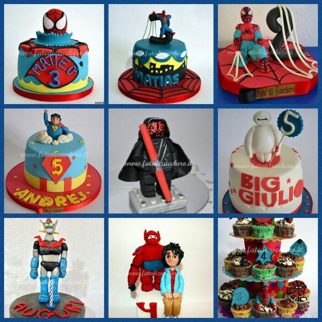 Collage di Supereroi: Torte, Topper e Cupcake interamente modellati a mano e personalizzati