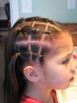 Coiffure petite fille : petites couettes colorées