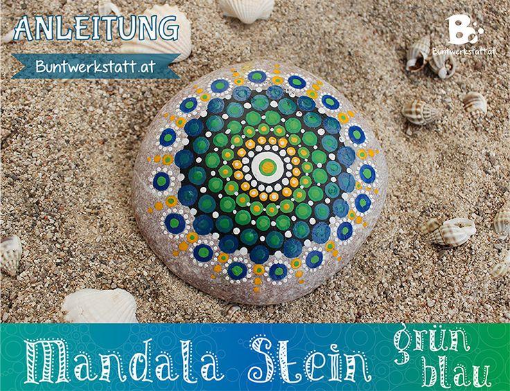 eine einfache anleitung zum mandala stein malen mit einem muster in gr n und blau viele bilder. Black Bedroom Furniture Sets. Home Design Ideas