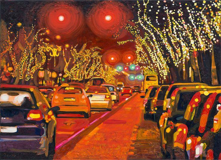 Téli este az Andrássy úton  2014 olaj-vászon 80x110