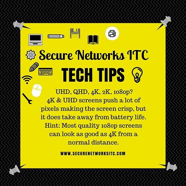 Which screen resolution is right for you?🤔 Here's our #techtip of the week.💡 #save_a_few_bucks #more_battery_life #secnetitc #snitc #techgeek #techtips #technology #technologyrocks #uhd #qhd #4k #2k #1080p #screen #screenresolution #1080pscreen #securenetworksitc #techaddict #techsupport #techteam #itsupport #itguy #itlove #itpartner