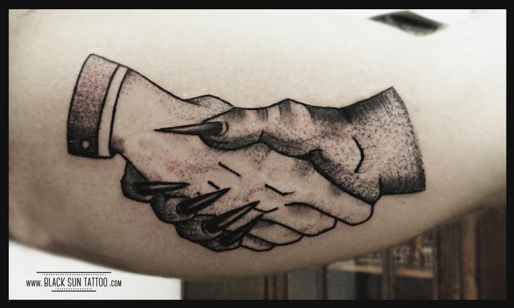 Tattoo by Black Sun Tattoo,Warsaw, Poland #handstattoo #handsdotwork #handsdevil #handsoldschool #dotwork #dotworktattoo #handshaketattoo