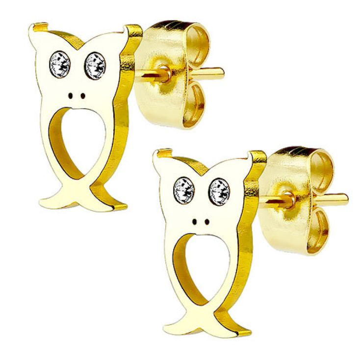 Ohrstecker Ohrringe Eulen vergoldet mit Kristallen