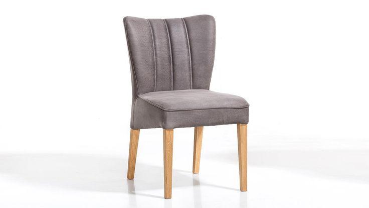 polsterstuhl murrano 2er set bezug grau gestell wildeiche. Black Bedroom Furniture Sets. Home Design Ideas