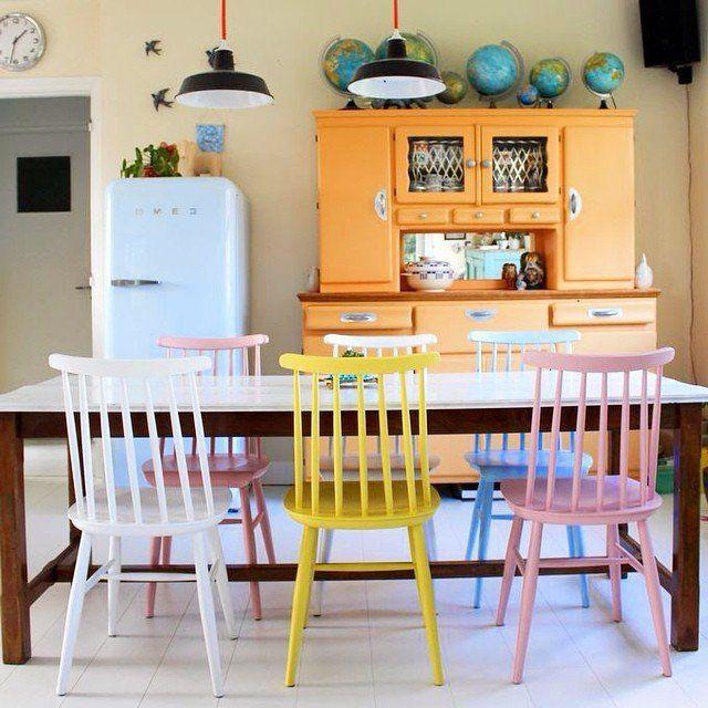 Des chaises colorées @tangerinette #madecoamoi