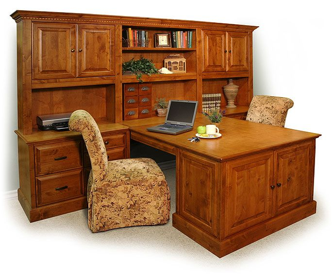 dual desks for home office | double peninsula desk | stone creek