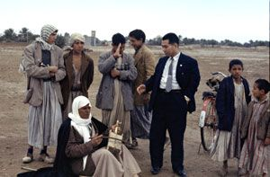 Daisaku Ikeda during a trip to Baghdad, Iraq, in 1962. Exchange between people of different cultures is central to Ikeda's peace philosophy