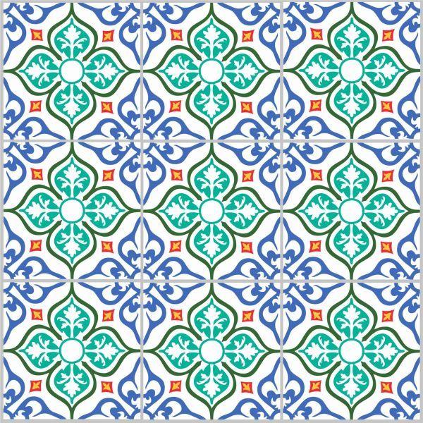 Kakeldekor Zagora - blå grön röd