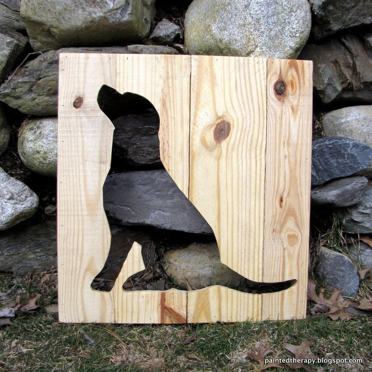Dog Silhouette from Reclaimed Pallet Wood Home Art Decor. $65.00, via Etsy.
