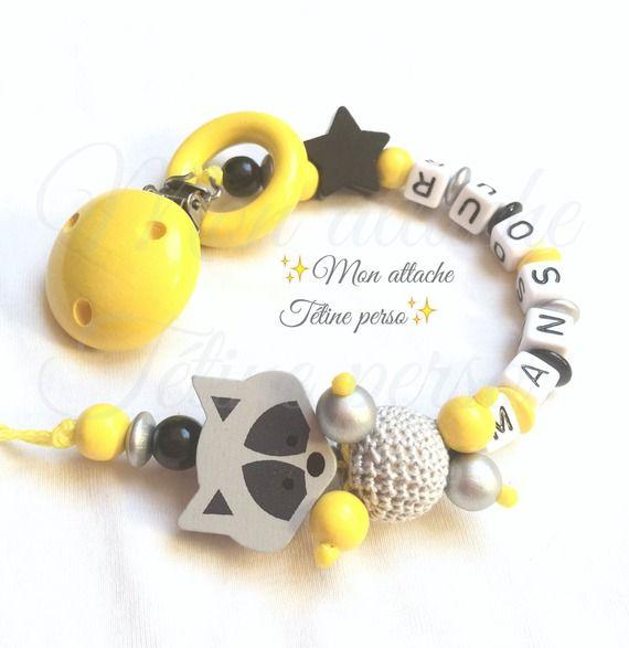 attache tétine personnalisée perles en bois ~ modèle renard gris jaune