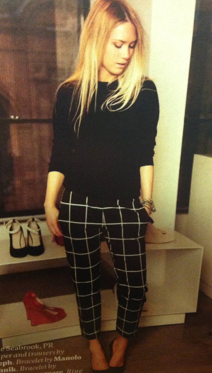checked trousers by Joseph, ELLE Magazine UK
