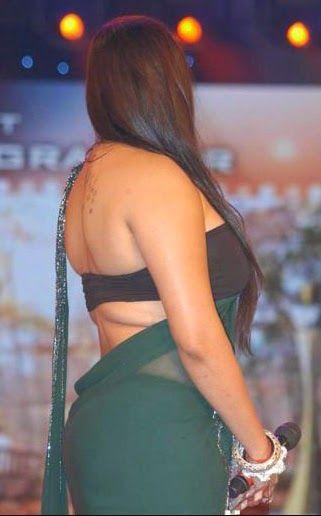 Malayalam Mallu Masala Actress Namitha Kapoor Bare Back Backless in Saree and Strapless Blouse