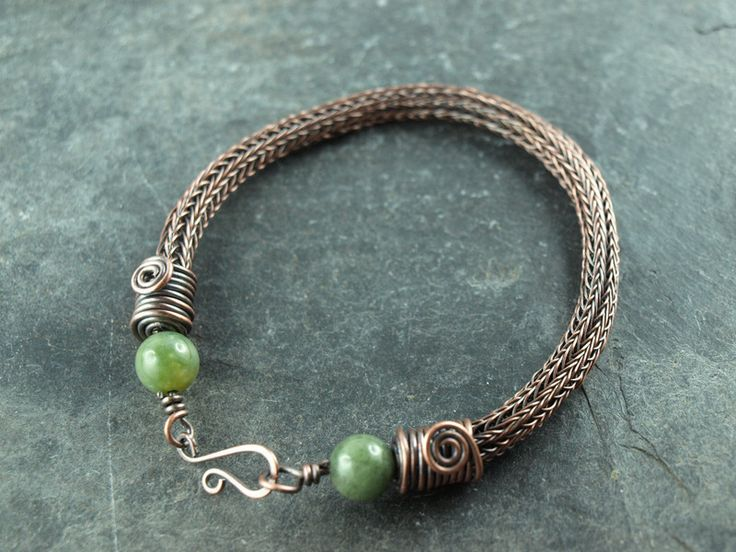viking+knit+Armband,+Kupfer,+Moosachat+von+KlimmBimm+auf+DaWanda.com