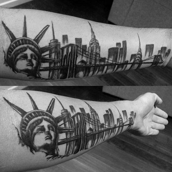 70 City Skyline Tattoo Designs For Men Downtown Ink Ideas Skyline Tattoo Nyc Skyline Tattoo Tattoo Designs Men