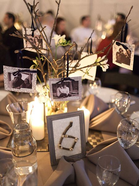 This sweet DIY centerpiece gives your guests a look at your relationship through the years.