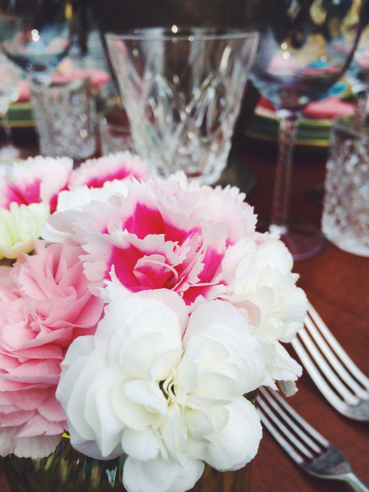 Cloves flower bouquet and cristal glass.