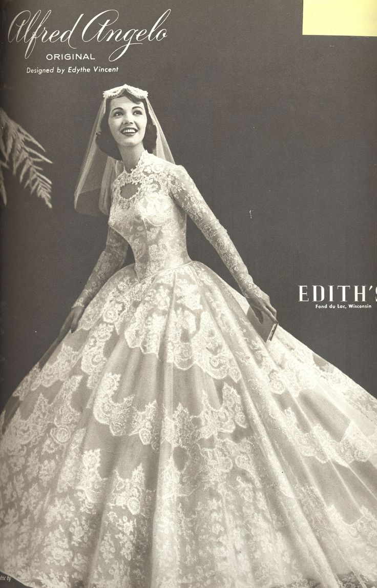 An Alfred Angelo original designed by Edythe Vincent, vintage designer fashion bride ad from spring1958