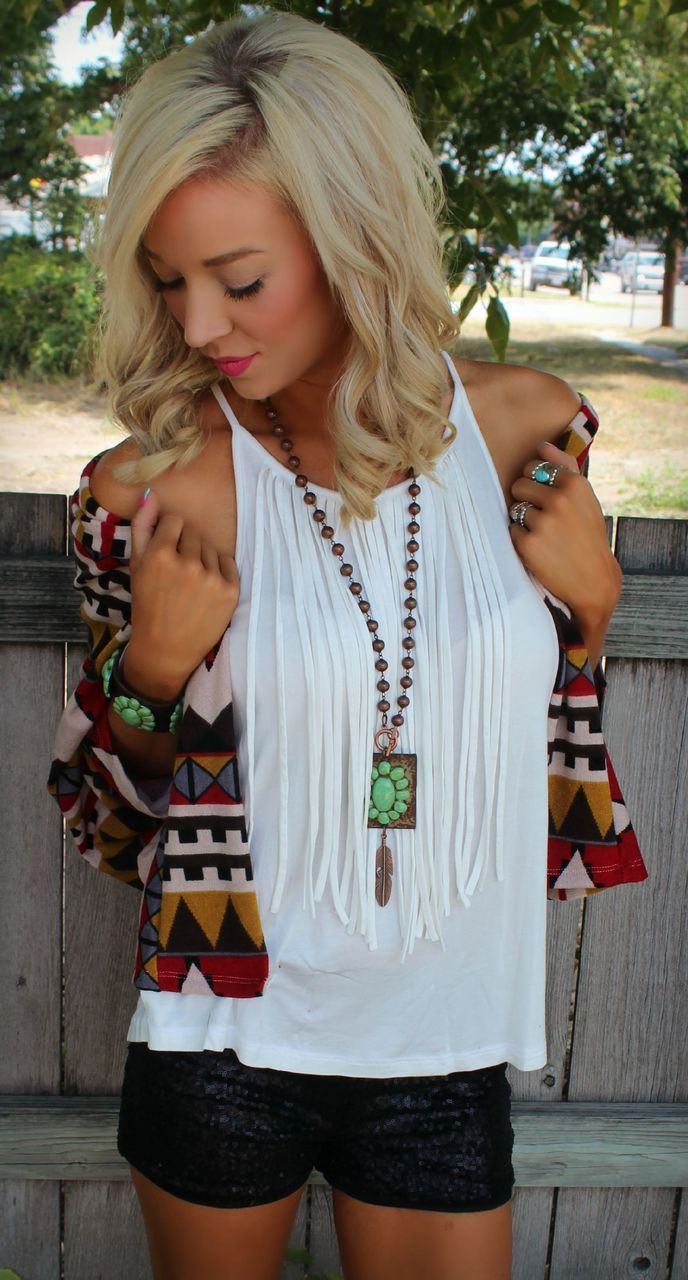 White Fringe Tank - The Lace Cactus, use code GRACE10 for a discount