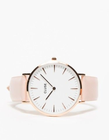 CLUSE / La Bohème Rose Gold White/Pink.From Cluse, a sleek and minimalist watch with a genuine leather wrist band with a white face and pink band. Features an easy clip on, clip off band pins, rose gold clasp and rose gold face details.
