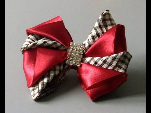 Laço de fitas marron e rosa Passo a Passo-satin ribbon bow - YouTube