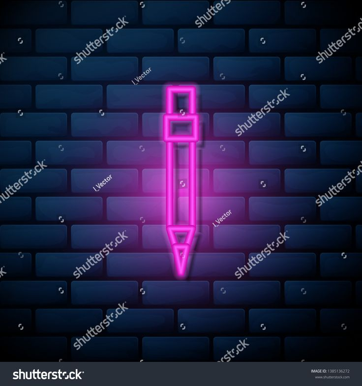 Lilac pink neon sign on brick wall Filled pencil super