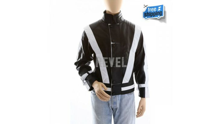 $150-Designer fashion dresses from UK online BIG sale. Black and white contrasted leather men's jacket with soft feel and sporty outlook. Get the sportsman feel with pure leather jacket for men for sale online.