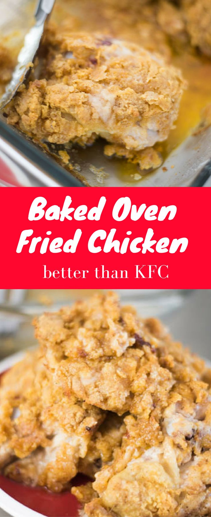 This crispy baked oven fried chicken is the best you'll ever have. It's better than KFC chicken, and you'll want to make it over and over again.