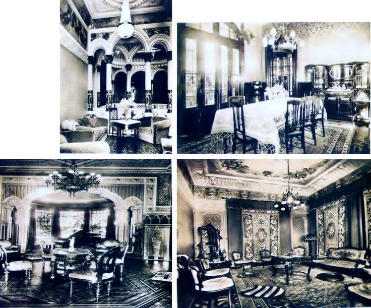Acima, à esquerda, a sala de chá e, à direita, a sala de almoço. Abaixo, à esquerda, a sala de música com um piano de cauda e piso em marfim e, à direita, a sala de espera.