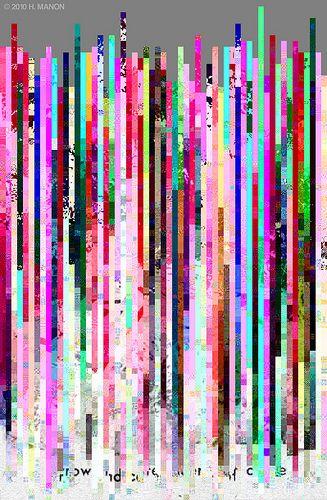 Glitch Art: Arrow indicates scene of crime. Hugh Manon aka eaubscene  Flickr