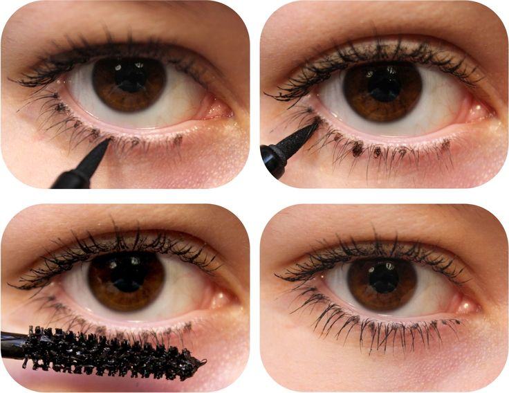 Dot inbetween your lashes with a liquid liner to make them look thicker.