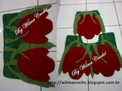 : Jogo de banheiro tulipas vermenhas em crochê