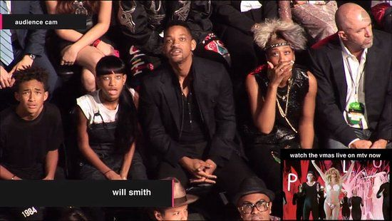 The Will Smith family watching Miley Cyrus at the 2013 MTV VMAs. Priceless!