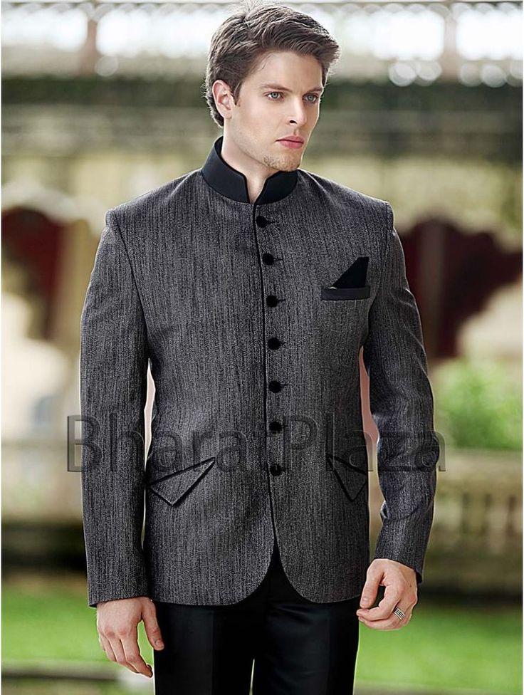 Reception Wedding High Neck Collar Enagagement Jodhpuri Men Suit #BharatPlaza #DesignerMenSuit