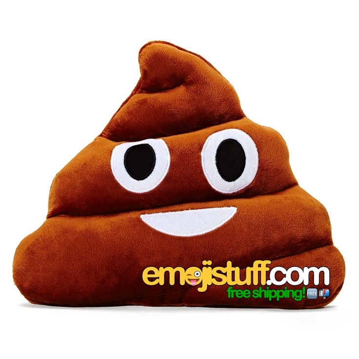 "Officially known as the ""Pile of Poo"" emoji, we bring you the the (in)famous poop emoji pillow! No matter what anyone tells you, this is NOT a chocolate ice cream emoji!"