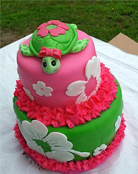 Edible Fondant Sea Turtle Cake Topper by KonopaseksKrazyCakes, $40.00