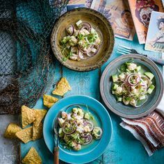 Aguachile: Aguachile is a Mexican dish consisting of fresh raw prawns cooked in a thin marinating sauce containing chillies, lime juice, red onion and cucumber. It is low calorie, gluten free and perfect as a starter or sharing dish