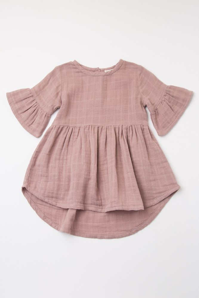 Mauve Ruffle Trim Button Back Baby Dress