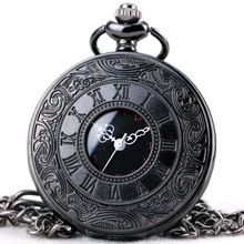 TOP LUXURY BRAND Unisex Fashion Quartz Pocket Watch Open Cover Roman Gothic Style Delicate Pattern Black Case Fob Watches //Price: $US $7.33 & Up To 18% Cashback //     #steampunktendencies