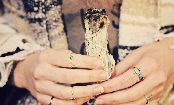 Smudging is primarily used to cleanse a physical space, but you can also smudge your own aura, or that of another person if needed.