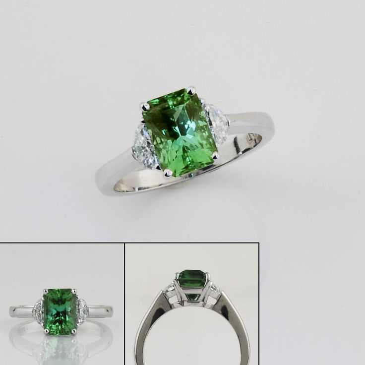 SparHawk - Mint Green Teal Maine Tourmaline and Diamond Ring.   Love it!