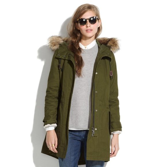 Madewell Side Zip Field Parka in Green Brand New, Size Small.  Black inner fur lining.  Same parka that Nicky Hilton is wearing!  Sold out! Madewell Jackets & Coats