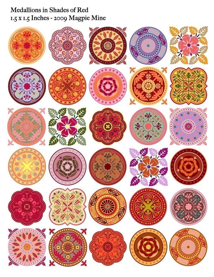 Medallions - Red Mandalas Collage Sheet - 1.5 Inch Squares and Circles - Digital Download - Printable. $4.00, via Etsy.