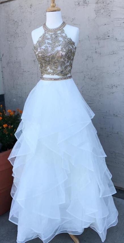 Oansatz Weißer Tüll Bodenlangen Abendkleid, Ballkleid mit Applikationen G783