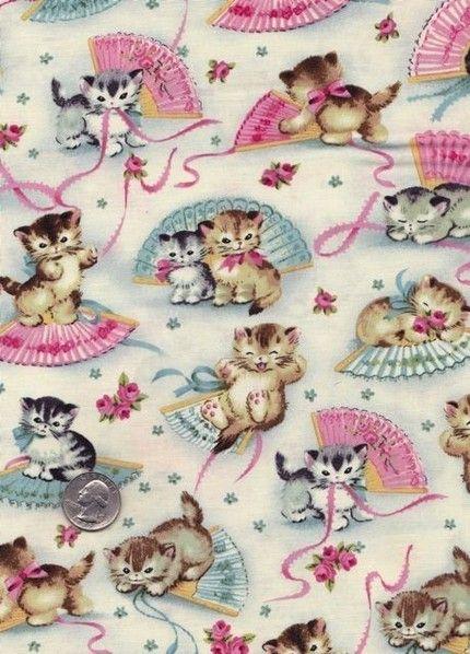 Smitten Kittens Cat Fan Retro Novelty Michael Miller