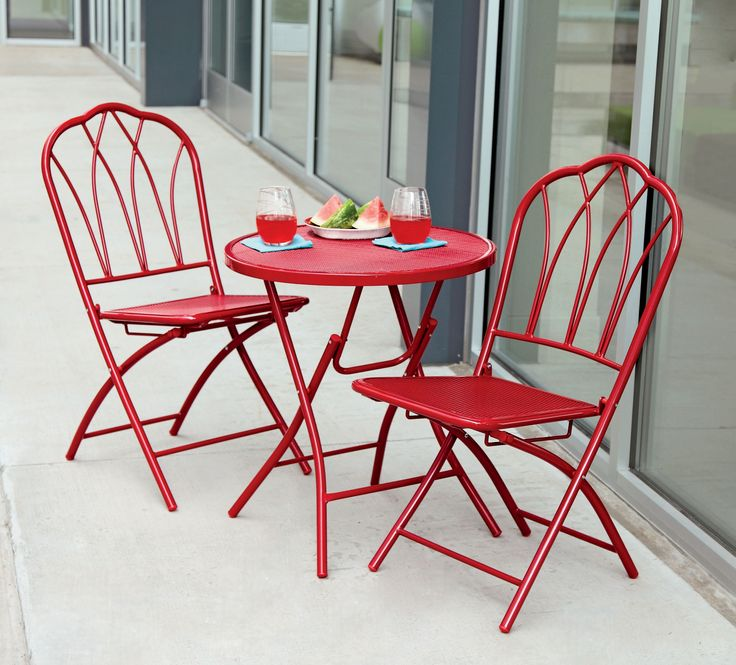 Enjoy sunny weather in the comfort of this 3 piece mesh - Bistro sets for small spaces collection ...