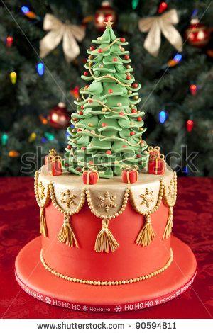 Christmas fondant cake - very pretty & stylish.