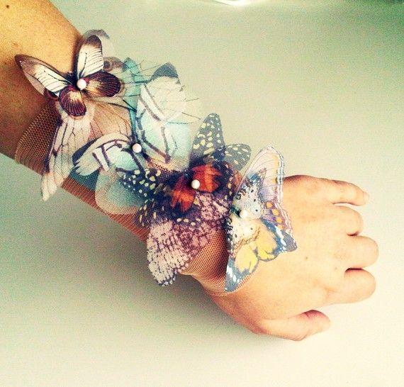 Fluttery Butterflies wide Cuff Bracelet or Anklet by jewelera, $75.00